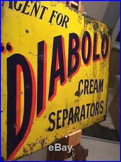 Enamel Sign Diablo Dairy Antique Rare Old Advertising Original Farming Vintage