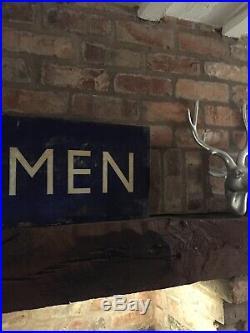 Enamel Sign Gentlemen Railway BR Original Rare Advertising Antique 4x1FT Vintage