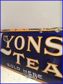 Enamel Sign Lyons Tea Original Old Rare Advertising Antique Vintage