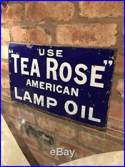 Enamel Sign Original Old Rare Advertising Tea Rose Antique Collectable Vintage