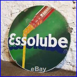 Esso Essolube Oil Enamel Sign Vintage Automobilia Garage Memorabilia