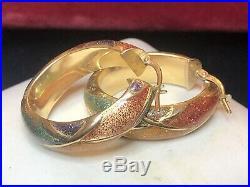 Estate Vintage 14k Gold Enamel Earrings Hoops Made In Italy Designer Signed B