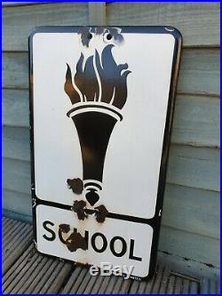 Extreamly Rare Vintage School Enamel Road Sign
