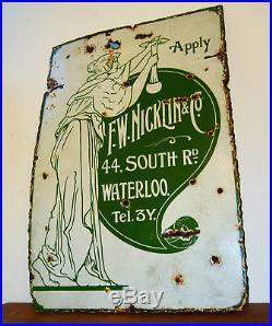 F. W Nicklin enamel sign original advertising mancave garage metal old vintage an