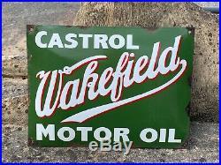 Fabulous Rare Vintage Castrol Wakefield Motor Oil Enamel Sign