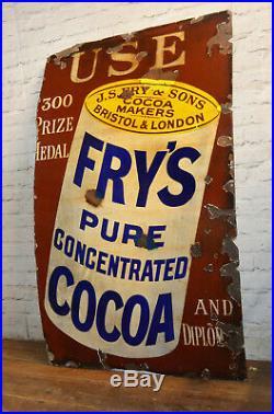 Fry's Cocoa 1930s advertising enamel sign vintage retro antique industrial decor