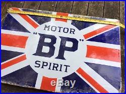 Genuine Original Antique Vintage BP British Petroleum Union Jack Enamel Sign
