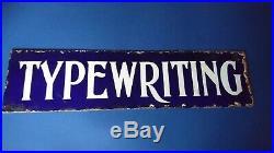 Genuine Vintage Antique Enamel Double Sided Typewriting Sign