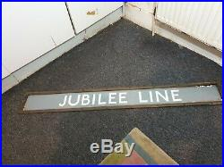 Genuine Vintage Big Enamelled Steel Station Sign & Original Carrier Jubilee Line