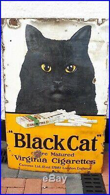 Great Large Vintage Cigarette Black Cat Enamel advertising sign 36x24 inch