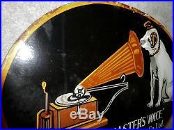 HMV RCA Vintage 1920 His master voice sign original gramophone ltd USA enamel