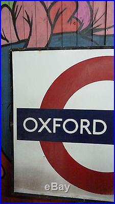 Huge Giant XL Vintage London Underground Oxford Circus Enamel Sign interior