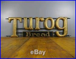 Huge Vintage Antique Vintage Turog Bread Gilt Wood Advertising Sign Enamel Int