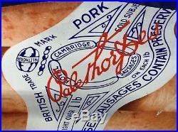Huge Vintage Original Blue Palethorpes enamel sign Kitchen Sausages Feature