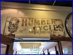 Humber Bicycles enamel sign advertising decor mancave garage metal vintage