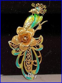 INCREDIBLE RARE Miriam Haskell Signed Enamel Figural Peacock Brooch! Vintage