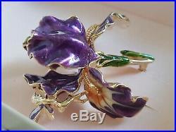 Kirks Folly Rare Purple Iris & Fairy Pin Brooch Signed Vintage Goldtone