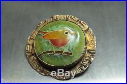 LINDA LUNDELL BIRD PENDANT 14Kt & 925 STERLING VINTAGE Cloisonné enamels SIGNED