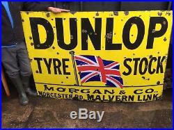 Large Antique Vintage Dunlop Enamel Sign Classic Morgan Car Garage Barn Find
