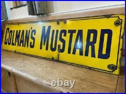 Large Colmans Mustard Vintage Enamel Advertising Sign Pub Bar Mavecave Kitchen