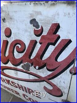 Large Enamel Sign Original Vintage Salavge Yorkshire Leeds