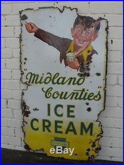 Large Original Vintage MIDLANDS COUNTIES ICE CREAM enamel sign c. 1930's-40's