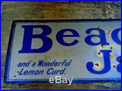 Large Original Vintage Old Beach's Jams Enamel Metal Advertising Sign