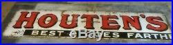 Large Original Vintage Old Houten's Enamel Metal Advertising Sign