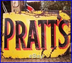Large Vintage Enamel Pratts Sign