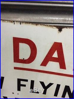 Large Vintage Original Airfield Airport Warning enamel sign Interior Design Bar