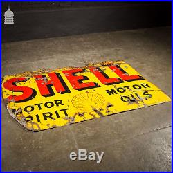 Large Vintage Shell Motor Spirit Motor Oils Enamel Advertising Sign