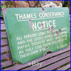 Large Vintage Thames Conservancy Enamel Sign London River Thames