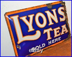 Lyon tea enamel sign advertising mancave garage metal vintage retro kitc