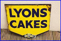 Lyons Cakes Old Enamel Sign Nice Vintage Advertising Antique Sign Man Cave