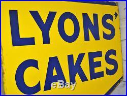 Lyons Cakes enamel sign advertising mancave garage metal vintage retro kitchen