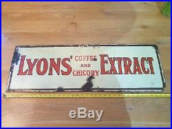 Lyons Coffee Chicory Extract Enamel Sign Cakes Tea Lipton cafe vintage antique