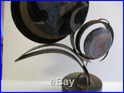 Maur Signed Vintage Abstract Large Metal Sculpture Enamel On Copper Painting Mod