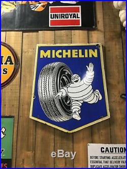 Michelin Tyres Enamel Sign Vintage Automobilia