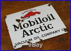 Mobiloil Artic enamel sign advertising decor mancave garage metal vintage antiqu