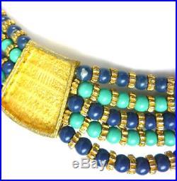 Necklace EGYPTIAN REVIVAL Hattie CARNEGIE Enamel Bead Bib Scarabs Signed Vintage