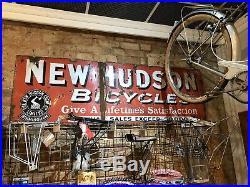New Hudson Bicycles enamel sign advertising decor mancave garage metal vintage