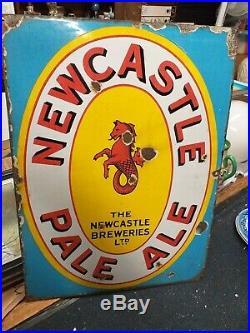 Newcastle fish Sign enamel metal tea shop display antique vintage brewery ale