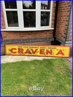 Old Antique Vintage Enamel Sign, Metal, Craven A Tobacco