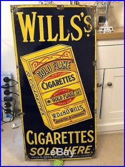 Old Antique Vintage Wills Gold Flake Cigarettes Enamel Sign