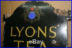 Old Vintage Double Sided Lyons Tea Sold Here Enamel Sign