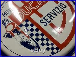 Original DUCATI Enamel Sign Porcelain Service Vintage 1950s NOS Bike Dealership