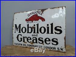 Original Early Antique Vintage Mobiloil Oils & Greases Enamel Adverting Sign