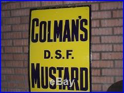 Original Enamel Sign COLMAN'S MUSTARD 1930's Large Vintage Shop Display Sign vgc