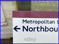 Original London Underground Enamel Tube Sign Vintage Circle Metropolitan Aldgate