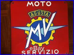 Original MV AGUSTA Enamel Sign Porcelain Service Vintage 1950s NOS F4 Brutale F3